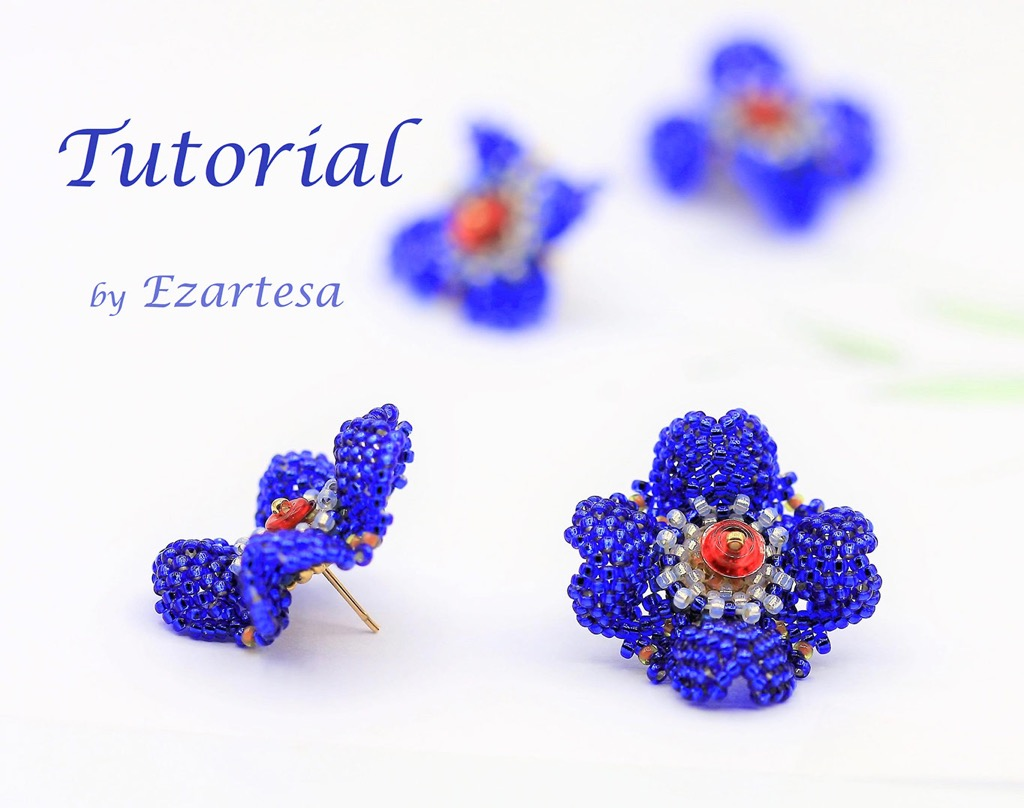 9e5e6602f I created gorgeous, deep blue color beaded flower stud earrings pattern.  This fun beading