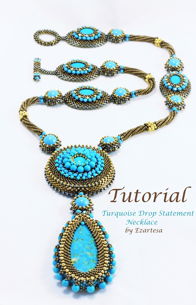 Beading Tutorials with Turquoise and Gold Seed Beads by Ezartesa | Ezartesa Blog. All about art + jewelry